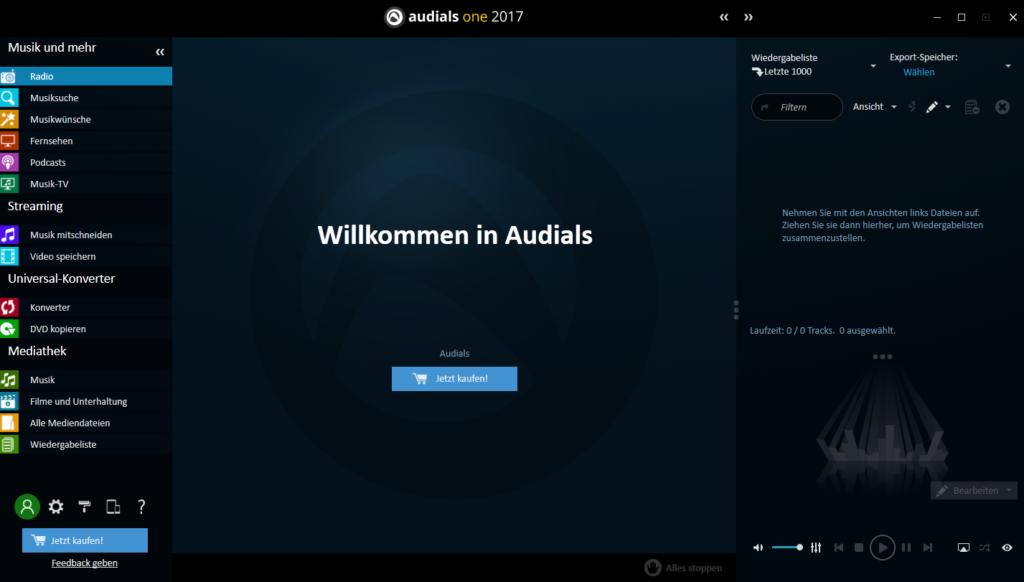 Audials One Hauptbildschirm